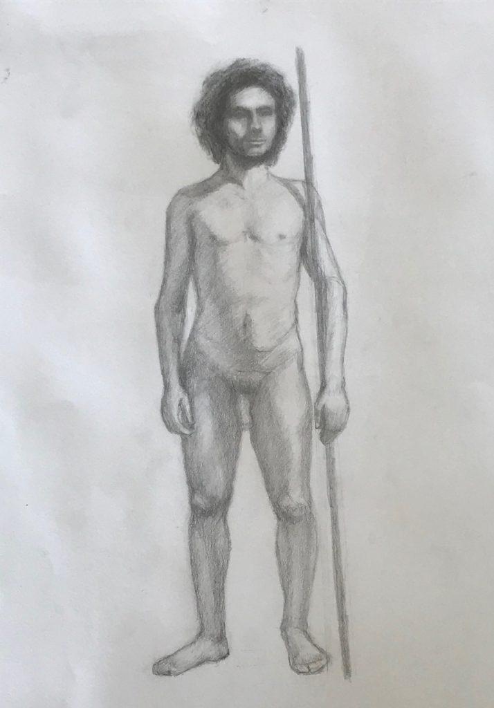 Caveman 1 - Life Model (graphite on white paper)