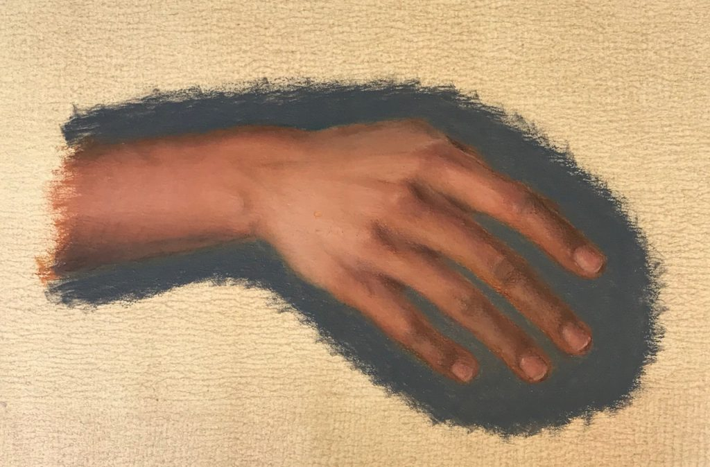 Hand Study 2 (oil pastels and coloured pencils on polyester canvas)