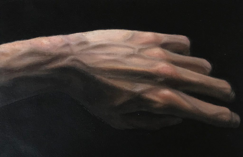 Hand Study 1 (oil, oil pastels and coloured pencils on cotton canvas)