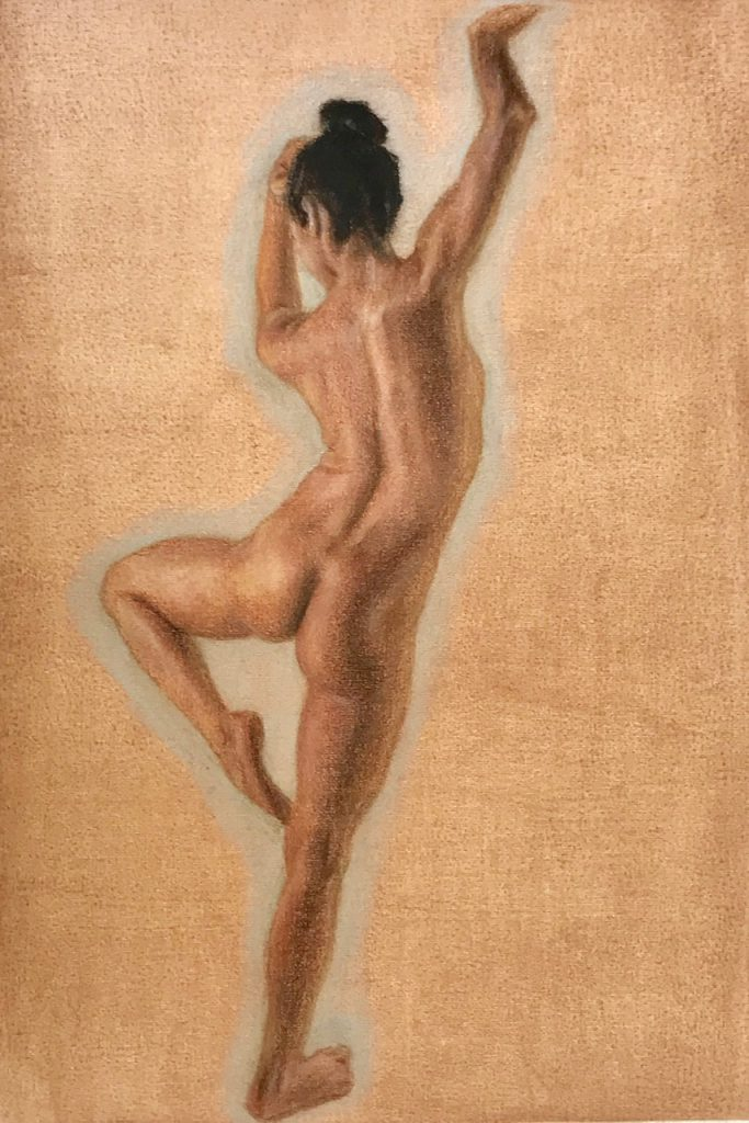 Dancing Model (coloured pencils on polyester canvas)