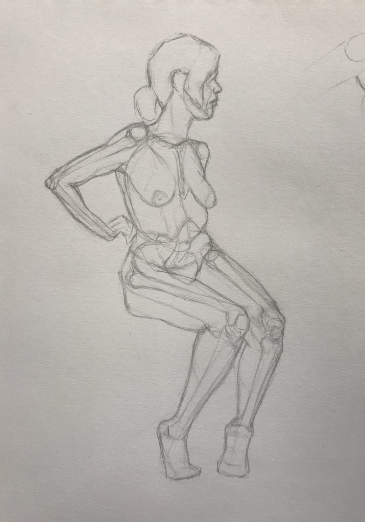Anatomy Study - Life Model (graphite pencil on white paper)